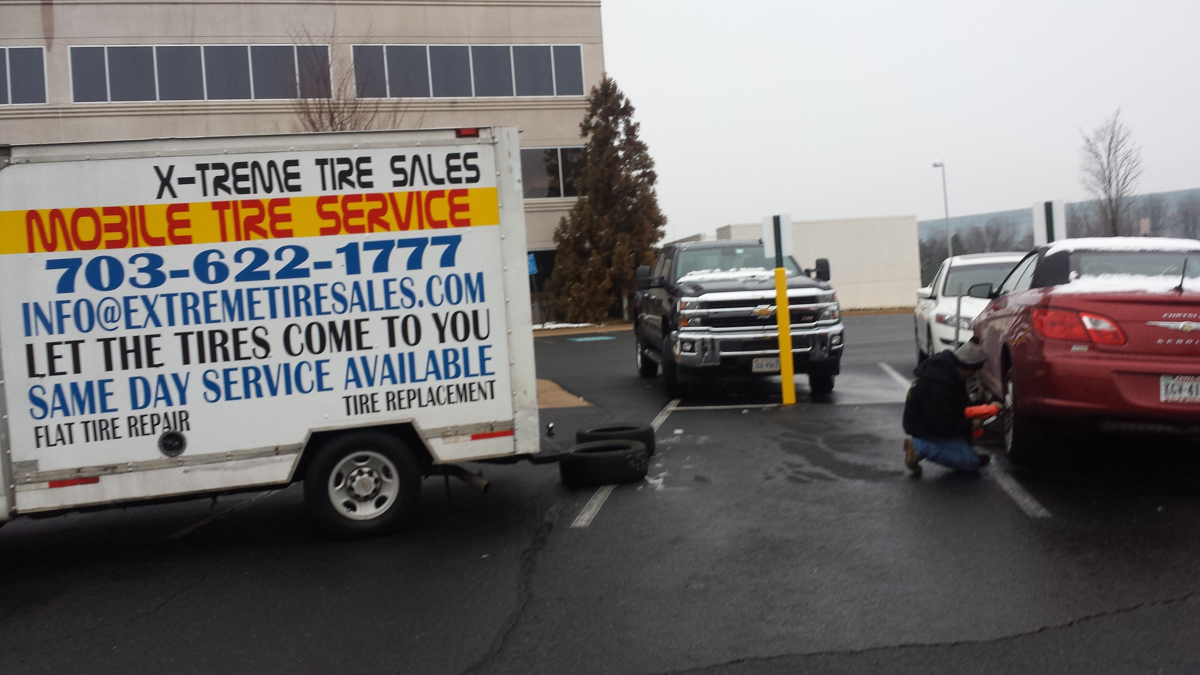 Our Mobile Tire Service Installs Tires At Your Work Or Home